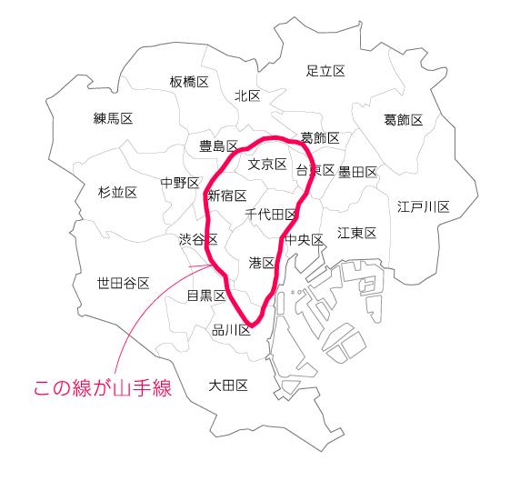 東京都の地図に山手線を書いた絵
