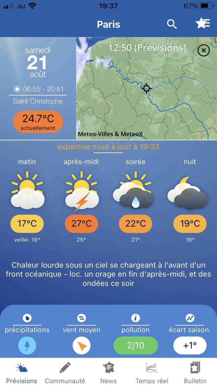 Météo Paris モバイルのトップページ