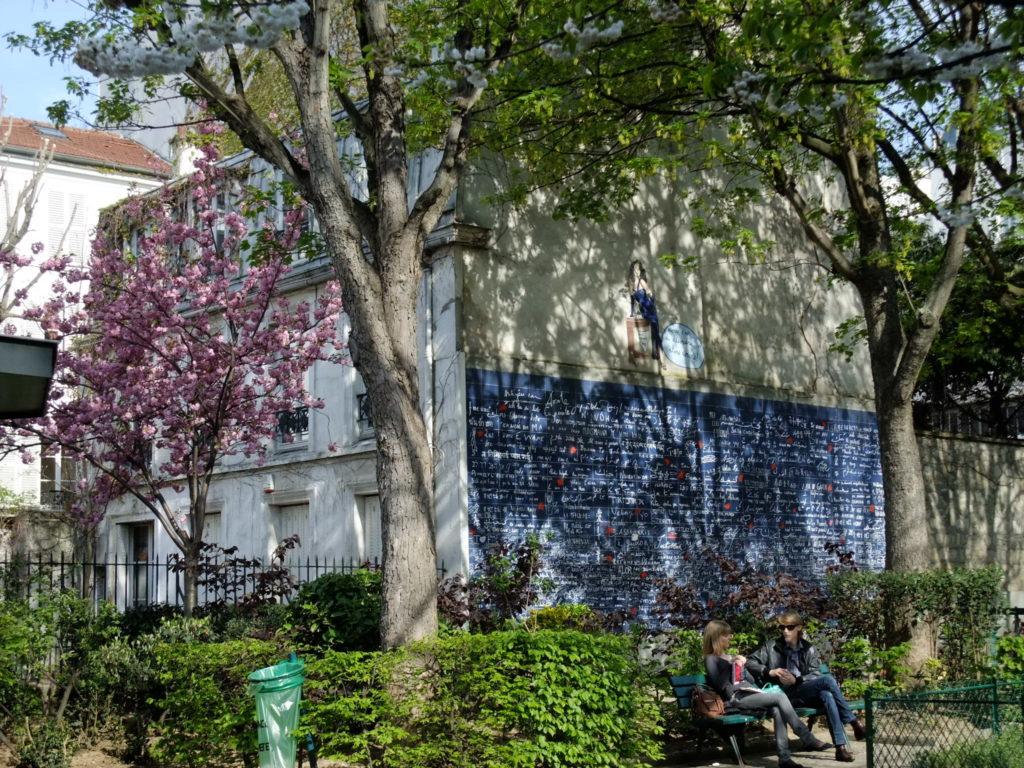 パリ アベス広場の近くにあるジュテームの壁