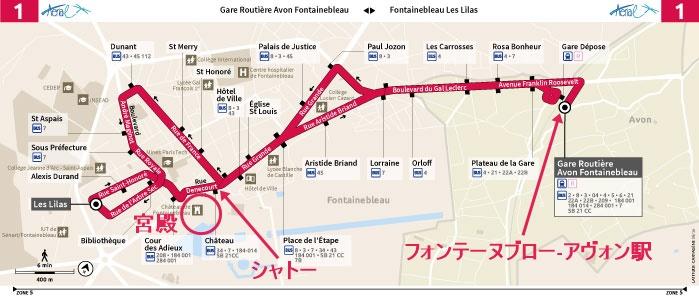 バス1番の路線図